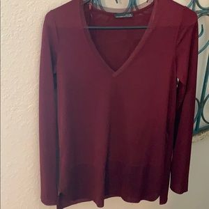 Zara burgundy long sleeve tunic